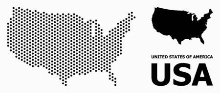 Dot map of USA composition and solid illustration. Vector map of USA composition of sphere items with hexagonal geometric array on a white background.  イラスト・ベクター素材
