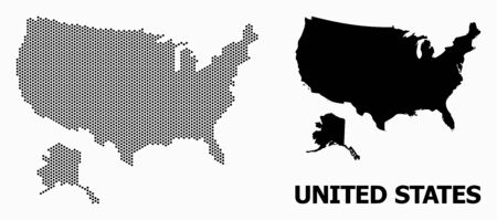 Pixelated map of USA and Alaska composition and solid illustration. Vector map of USA and Alaska combination of circle elements with honeycomb geometric array on a white background.  イラスト・ベクター素材