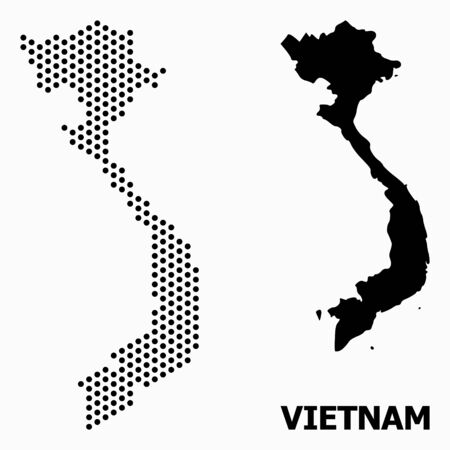 Pixelated map of Vietnam composition and solid illustration. Vector map of Vietnam composition of sphere spots with hexagonal periodic array on a white background.