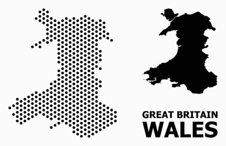 Pixelated map of Wales composition and solid illustration. Vector map of Wales composition of spheric dots with honeycomb geometric pattern on a white background.