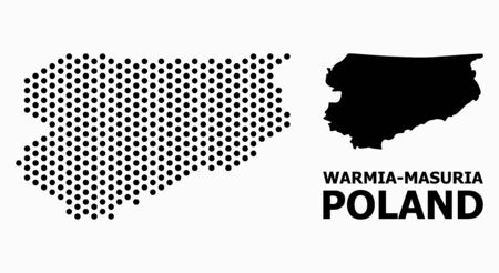Pixel map of Warmia-Masuria Province composition and solid illustration. Vector map of Warmia-Masuria Province composition of round items with hexagonal periodic pattern on a white background.