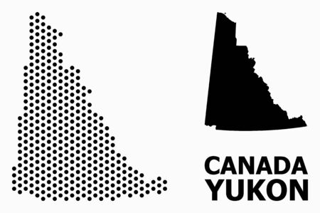Pixel map of Yukon Province composition and solid illustration. Vector map of Yukon Province composition of sphere elements with hexagonal geometric pattern on a white background.