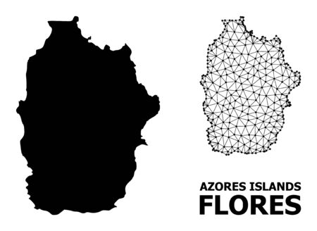 Solid and mesh vector map of Azores - Flores Island. Wire frame 2D polygonal mesh in eps vector format, geographic models for economics purposes. Illustrations are isolated on a white background. 向量圖像