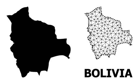Solid and mesh vector map of Bolivia. Linear frame flat triangular mesh in vector format, geographic models for economical designs. Illustrations are isolated on a white background.