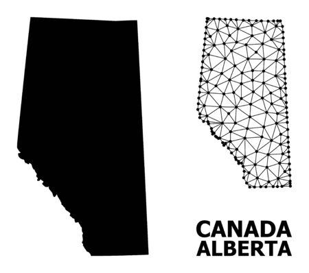 Solid and mesh vector map of Alberta Province. Wire carcass 2D polygonal mesh in vector format, geographic models for political posters. Illustrations are isolated on a white background.
