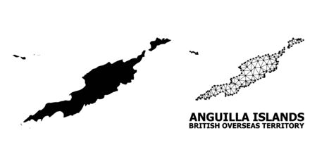 Solid and mesh vector map of Anguilla Islands. Wire carcass 2D triangular mesh in vector EPS format, geographic models for political posters. Illustrations are isolated on a white background.