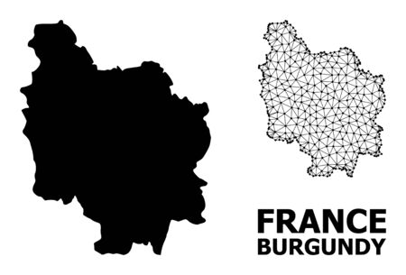 Solid and mesh vector map of Burgundy Province. Linear carcass flat polygonal mesh in vector format, geographic models for economical concepts. Illustrations are isolated on a white background.