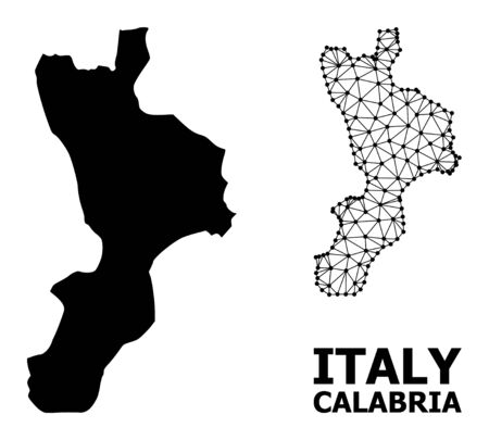 Solid and mesh vector map of Calabria region. Linear carcass 2D triangular mesh in vector EPS format, geographic models for economics illustrations. Illustrations are isolated on a white background.