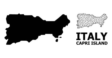 Solid and mesh vector map of Capri Island. Linear carcass flat polygonal mesh in vector format, geographic templates for patriotic illustrations. Illustrations are isolated on a white background. Illusztráció