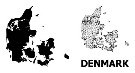 Solid and mesh vector map of Denmark. Wire frame flat polygonal mesh in vector format, geographic models for educational illustrations. Illustrations are isolated on a white background.