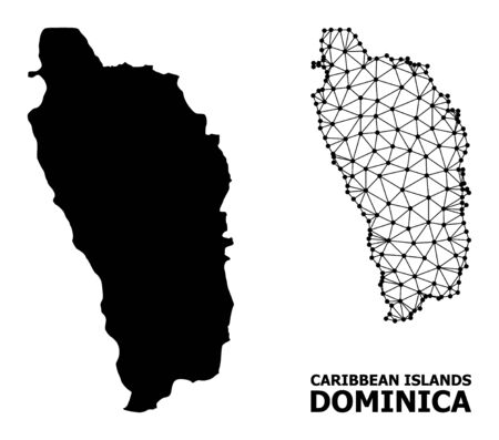 Solid and mesh vector map of Dominica Island. Linear frame 2D triangular mesh in vector format, geographic templates for political purposes. Illustrations are isolated on a white background. 向量圖像