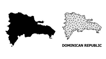 Solide und Mesh-Vektorkarte der Dominikanischen Republik. Lineares 2D-Dreieckgitter im Vektor-EPS-Format, geografische Modelle für Bildungskonzepte. Illustrationen sind auf einem weißen Hintergrund isoliert.