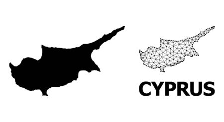Solid and mesh vector map of Cyprus Island. Linear carcass flat triangular mesh in vector EPS format, geographic models for patriotic illustrations. Illustrations are isolated on a white background.