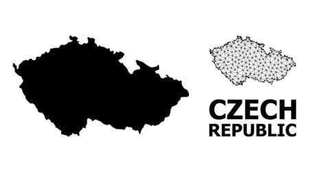 Solid and mesh vector map of Czech Republic. Wire carcass 2D polygonal mesh in vector format, geographic models for educational illustrations. Illustrations are isolated on a white background. Ilustração