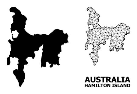 Solid and mesh vector map of Hamilton Island. Linear carcass flat triangular mesh in vector format, geographic templates for educational illustrations.