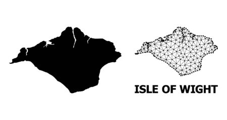 Solid and mesh vector map of Isle of Wight. Linear carcass flat triangular mesh in vector format, geographic templates for economical designs. Illustrations are isolated on a white background.