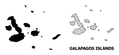 Solid and mesh vector map of Galapagos Islands. Wire frame 2D polygonal mesh in vector EPS format, geographic templates for educational illustrations. Illustrations are isolated on a white background.
