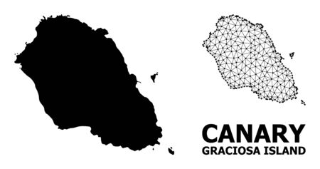 Solid and mesh vector map of Graciosa Island. Linear frame flat polygonal mesh in vector format, geographic templates for economical illustrations.
