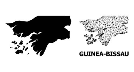 Solid and mesh vector map of Guinea-Bissau. Linear frame 2D polygonal mesh in vector EPS format, geographic templates for economical compositions. Illustrations are isolated on a white background. Stock Illustratie