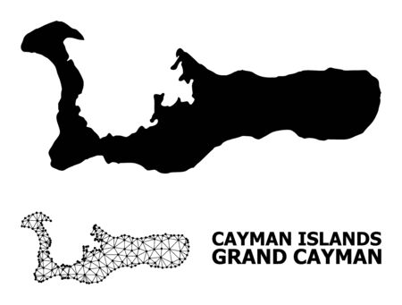 Solid and mesh vector map of Grand Cayman Island. Wire carcass flat triangular network in vector format, geographic models for economical illustrations. Illustration