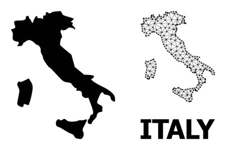 Solid and mesh vector map of Italy. Wire frame 2D polygonal mesh in vector  format, geographic models for political concepts. Illustrations are isolated on a white background.
