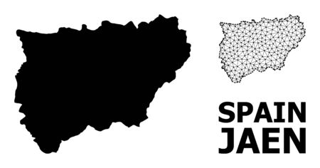 Solid and mesh vector map of Jaen Spanish Province. Linear frame 2D polygonal network in eps vector format, geographic templates for political illustrations.