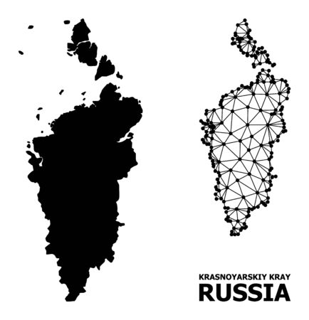 Solid and mesh vector map of Krasnoyarskiy Kray. Linear carcass 2D polygonal mesh in vector format, geographic templates for political illustrations. Illustrations are isolated on a white background.