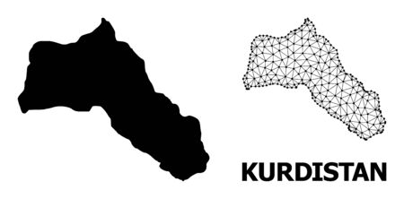 Solid and mesh vector map of Kurdistan. Linear frame 2D triangular mesh in vector format, geographic templates for educational compositions. Illustrations are isolated on a white background.