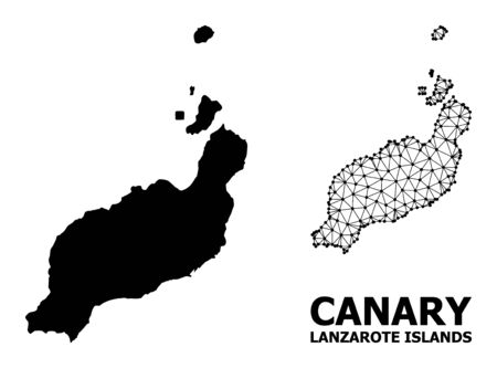 Solid and mesh vector map of Lanzarote Islands. Linear frame 2D polygonal mesh in eps vector format, geographic models for educational illustrations. Illustrations are isolated on a white background.