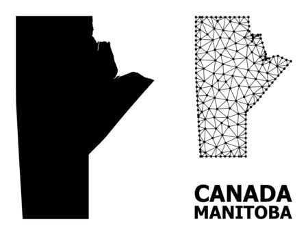 Solid and mesh vector map of Manitoba Province. Linear carcass 2D triangular mesh in  vector format, geographic templates for economical concepts. Illustrations are isolated on a white background. Illustration