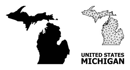Solid and mesh vector map of Michigan State. Linear carcass 2D polygonal mesh in vector format, geographic models for political designs. Illustrations are isolated on a white background.