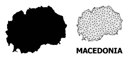 Solid and mesh vector map of Macedonia. Wire carcass flat polygonal mesh in vector EPS format, geographic models for patriotic designs. Illustrations are isolated on a white background.