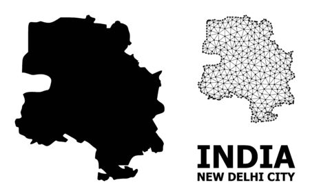 Solid and mesh vector map of New Delhi City. Linear frame 2D triangular mesh in vector format, geographic templates for patriotic illustrations. Illustrations are isolated on a white background. 일러스트