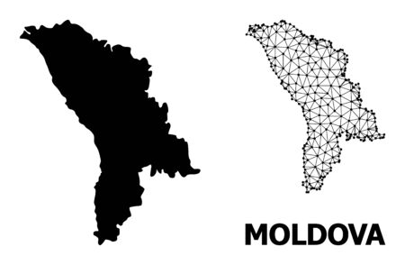 Solid and mesh vector map of Moldova. Wire carcass 2D polygonal mesh in eps vector format, geographic models for economical posters. Illustrations are isolated on a white background.