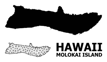 Solid and mesh vector map of Molokai Island. Linear frame flat triangular mesh in vector format, geographic models for economical posters. Illustrations are isolated on a white background.