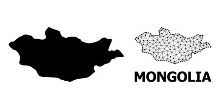 Solid and mesh vector map of Mongolia. Wire frame 2D triangular mesh in vector format, geographic models for economics posters. Illustrations are isolated on a white background.