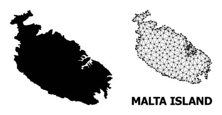 Solid and mesh vector map of Malta Island. Linear carcass flat triangular mesh in vector format, geographic templates for patriotic purposes. Illustrations are isolated on a white background. Illustration