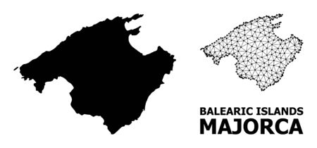 Solid and mesh vector map of Majorca. Wire frame 2D polygonal mesh in vector , geographic models for economics illustrations. Illustrations are isolated on a white background.
