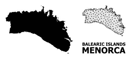 Solid and mesh vector map of Menorca Island. Linear carcass flat triangular mesh in vector , geographic models for economical illustrations. Illustrations are isolated on a white background.