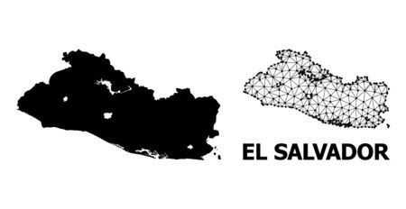 Solid and mesh vector map of El Salvador. Linear carcass 2D polygonal mesh in vector format, geographic templates for economical illustrations. Illustrations are isolated on a white background.
