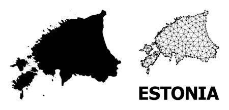 Solid and mesh vector map of Estonia. Linear frame flat polygonal mesh in eps vector format, geographic templates for economical illustrations. Illustrations are isolated on a white background.