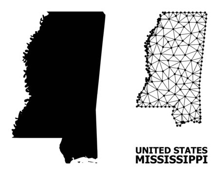 Solid and mesh vector map of Mississippi State. Wire frame 2D polygonal mesh in vector format, geographic templates for patriotic illustrations. Illustrations are isolated on a white background.