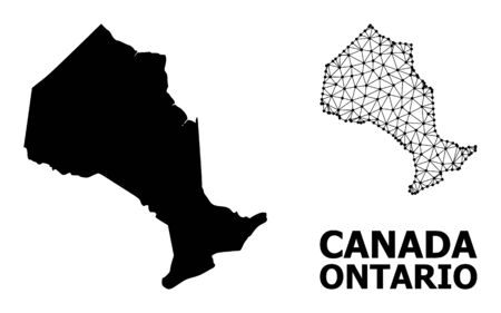Solid and mesh vector map of Ontario Province. Wire carcass flat triangular mesh in vector format, geographic models for economics illustrations. Illustrations are isolated on a white background.