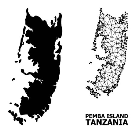 Solid and mesh vector map of Pemba island. Wire carcass flat polygonal mesh in vector EPS format, geographic templates for patriotic illustrations. Illustrations are isolated on a white background.