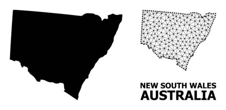 Solid and mesh vector map of New South Wales. Wire carcass flat triangular mesh in vector format, geographic models for political designs. Illustrations are isolated on a white background.