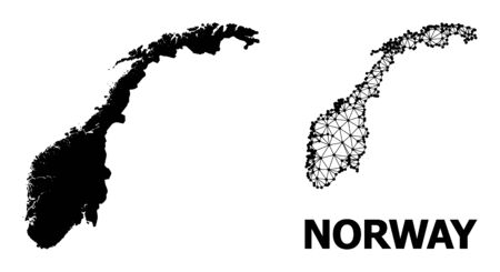 Solid and mesh vector map of Norway. Wire carcass flat triangular mesh in vector format, geographic models for patriotic illustrations. Illustrations are isolated on a white background.
