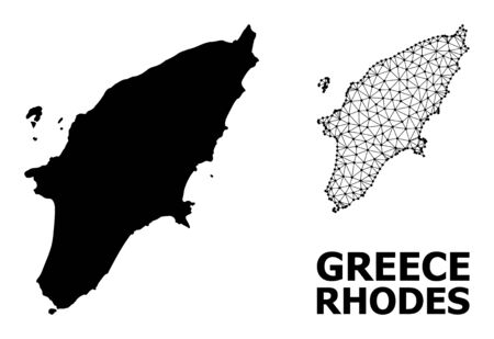 Solid and mesh vector map of Rhodes Island. Linear carcass 2D polygonal mesh in eps vector format, geographic templates for patriotic posters. Illustrations are isolated on a white background. Vettoriali