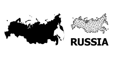 Solid and mesh vector map of Russia. Wire carcass 2D triangular mesh in eps vector format, geographic models for economical illustrations. Illustrations are isolated on a white background.