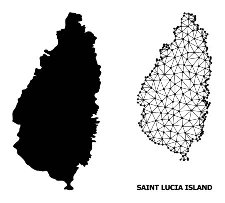 Solid and mesh vector map of Saint Lucia Island. Wire carcass flat polygonal mesh in vector format, geographic models for political concepts. Illustrations are isolated on a white background.