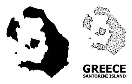 Solid and mesh vector map of Santorini Island. Wire frame 2D triangular network in vector format, geographic models for political illustrations. Illustrations are isolated on a white background.